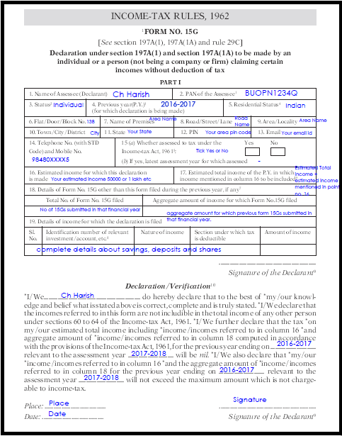 Sample Filled Form 15G / How To Fill PF Form 15G