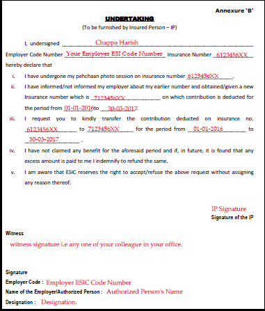 Sample Filled ESIC Contribution Transfer Form
