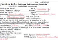 Sample Filled ESIC Form 105