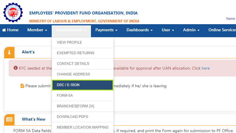 Register Aadhar Based E Sign At PF Unified Portal