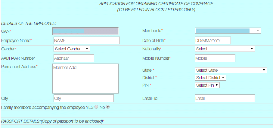How To Apply For PF Certificate Of Coverage