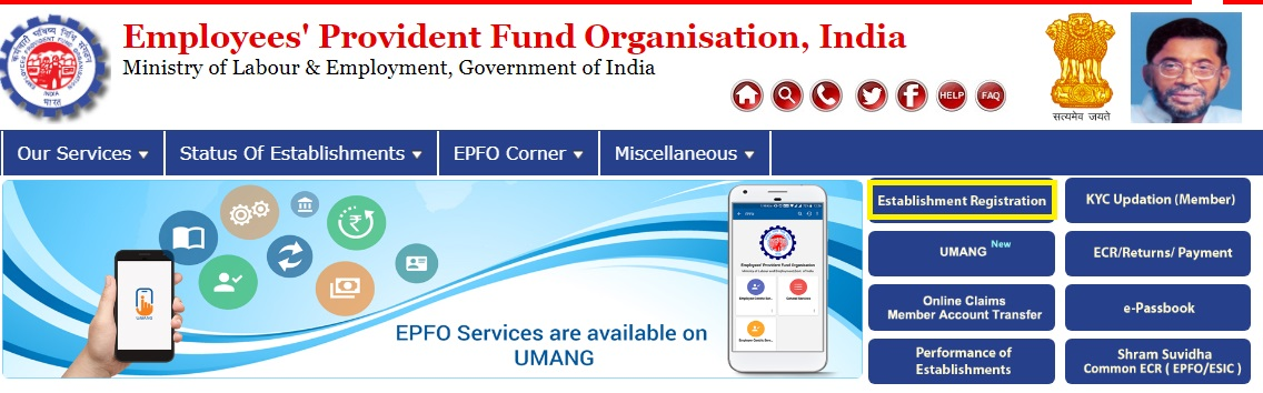 EPF online registration for new company