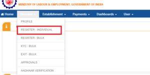 Individual Employee Registration New EPF Unified Portal