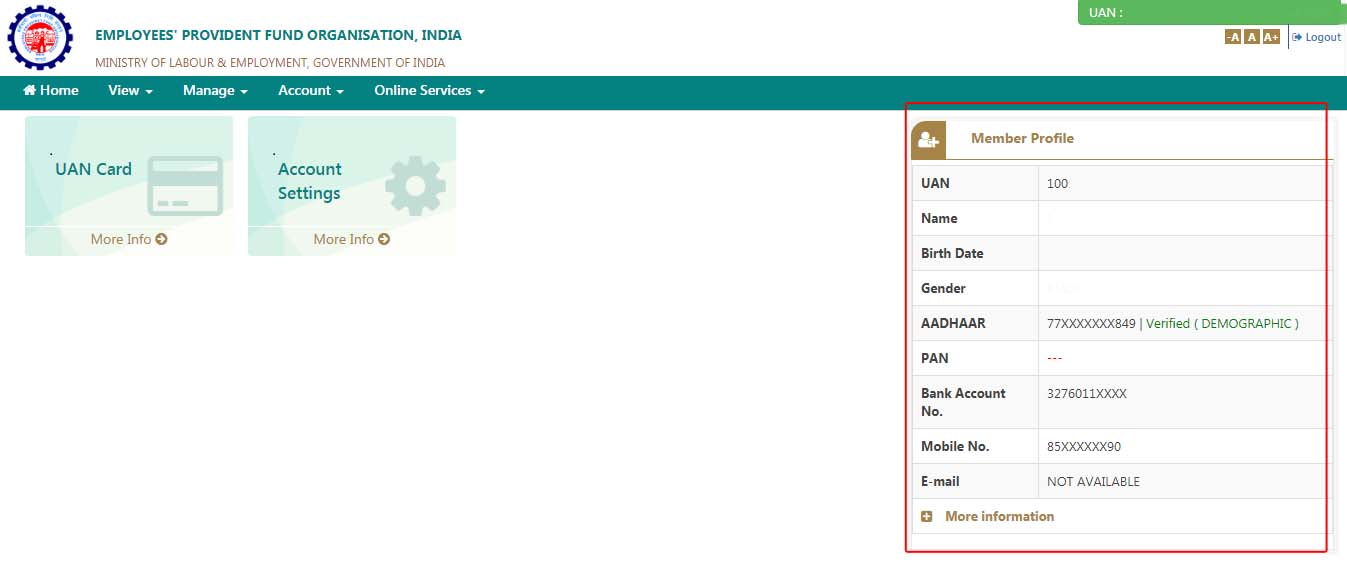 How to check missing details in PF portal