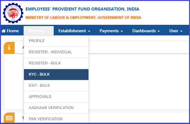 Upload Bulk KYC Text File Unified PF Portal