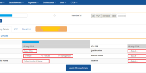 How to update employee missing details in PF