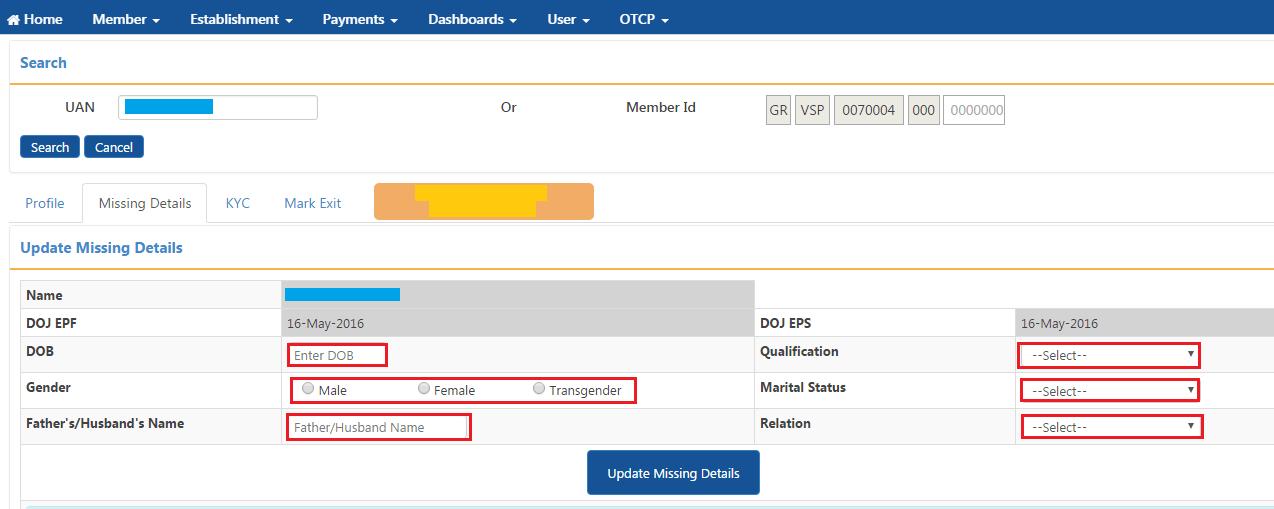 Employee Missing Details Unfied PF Portal