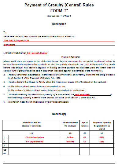 Sample Filled Gratuity Form F (Or) How To Fill Gratuity Form F