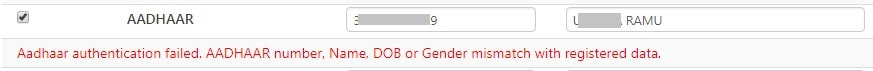 aadhaar authentication failed. aadhaar number name dob or gender mismatch with registered data. epfo