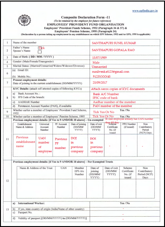 Sample Filled EPF Composite Declaration Form 11