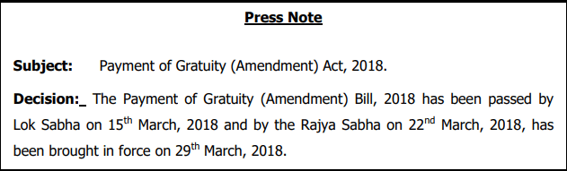 Gratuity Limit Increased To 20 Lakhs Gazette Notification