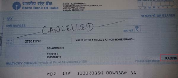 PF Cancelled Cheque for PF withdrawal