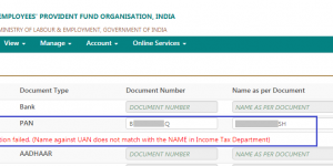 PAN Verification Failed Error In UAN (PAN verfication failed.name against uan does not match with the name in income tax department)