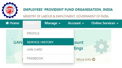 How to check service period in UAN portal