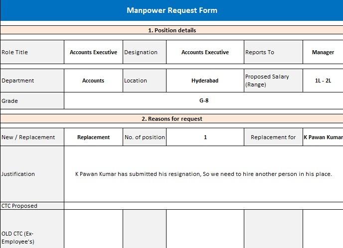 Manpower Requisition Form Sample