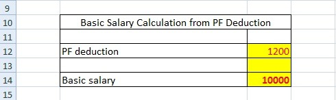Basic salary calculation from PF deduction