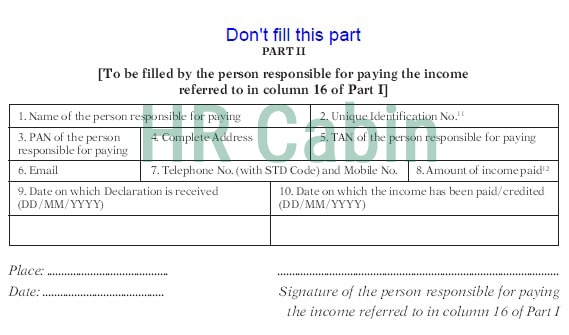 Sample Filled Form 15G For PF Withdrawal Part 2 in 2019