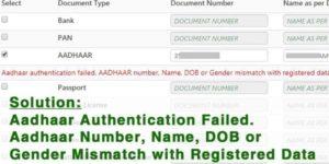 Aadhaar authentication failed. aadhaar number name dob or gender mismatch with registered data. epfo