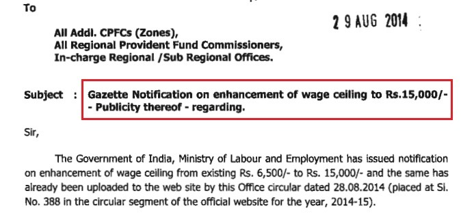 EPFO Circular on Basic Salary 15000 Ceiling Limit