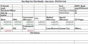 Salary Slip Format for Pvt Ltd Company