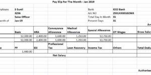 Salary Slip for 30000 per Month