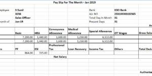 Sample Salary Slip for 18000 per Month