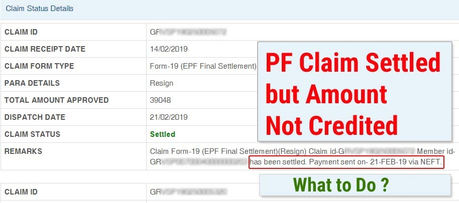 PF claim settled but not credited or received