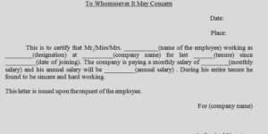 Salary Certificate to Whomsoever it May Concern