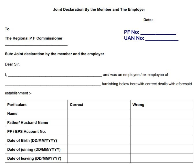PF joint declaration form