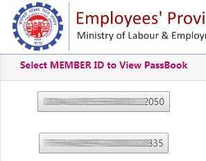 PF passbook for Two accounts