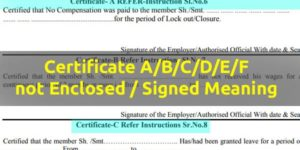 Certificate a b c d e f not enclosed signed meaning in PF