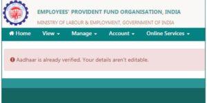 Aadhaar is Already Verified. Your Details Aren't Editable