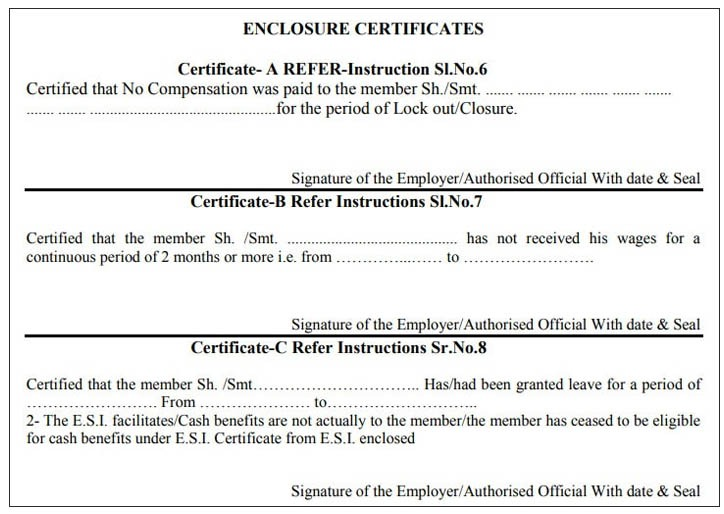 Certificate A/B/C/D/E/F not Enclosed / Signed Meaning in PF