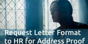 Request Letter Format to HR for Address Proof for personal loan