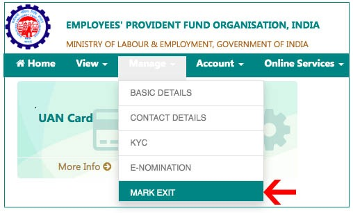 how to update date of exit in epf without employer