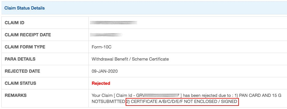 PF rejected due to certificate a b c d e f not enclosed signed