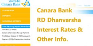 Canara Bank RD Dhanvarsha Interest Rates 2020