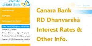 Canara Bank RD Dhanvarsha Interest Rates 2020