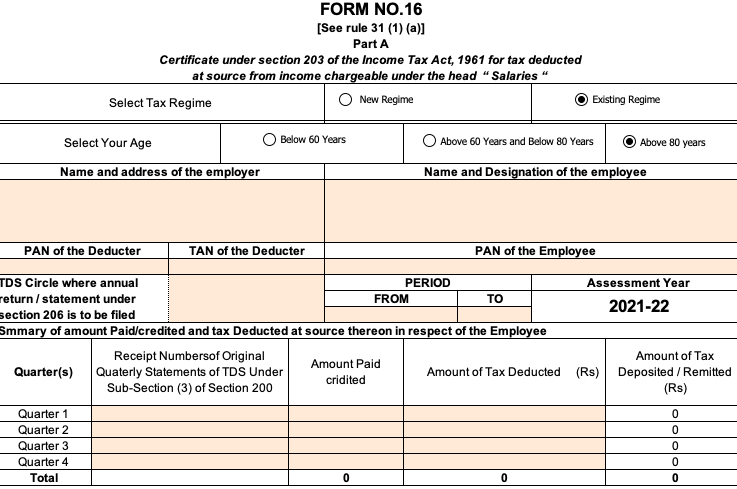 Form 16 Excel Format for Ay 2021-22 (Fy 2020-21