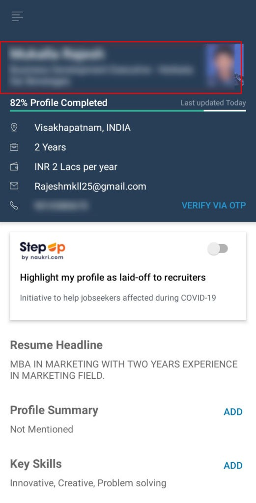 how to update notice period in naukri portal mobile app