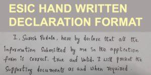 ESIC hand written declaration format