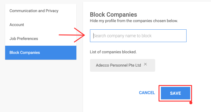 blocking companies in naukri.com