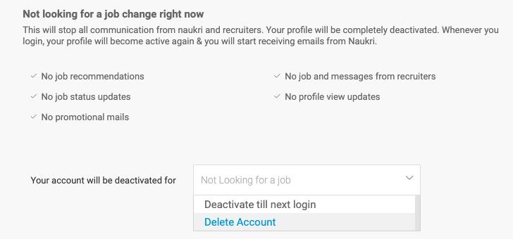 naukri account delete