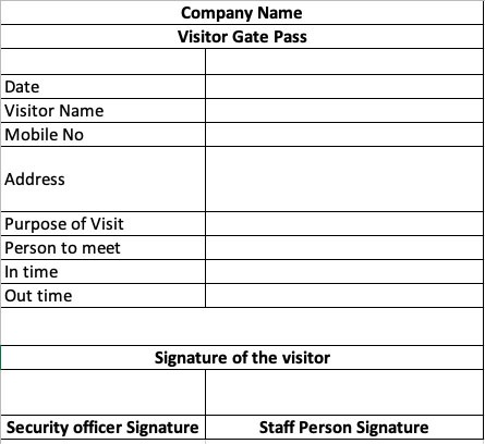 Visitor Gate Pass Format Excel Free Download