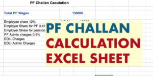 PF Challan Calculation Excel Sheet
