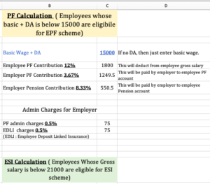 PF & ESI Calculation Excel Format 2021 Download