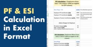 PF ESIC Caculation in Excel Format 2020