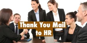 Thank you mail to HR