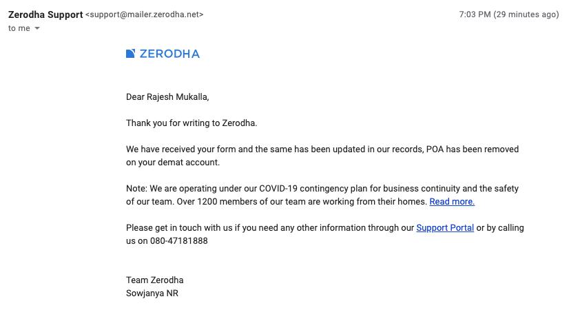 how to cancel poa in zerodha