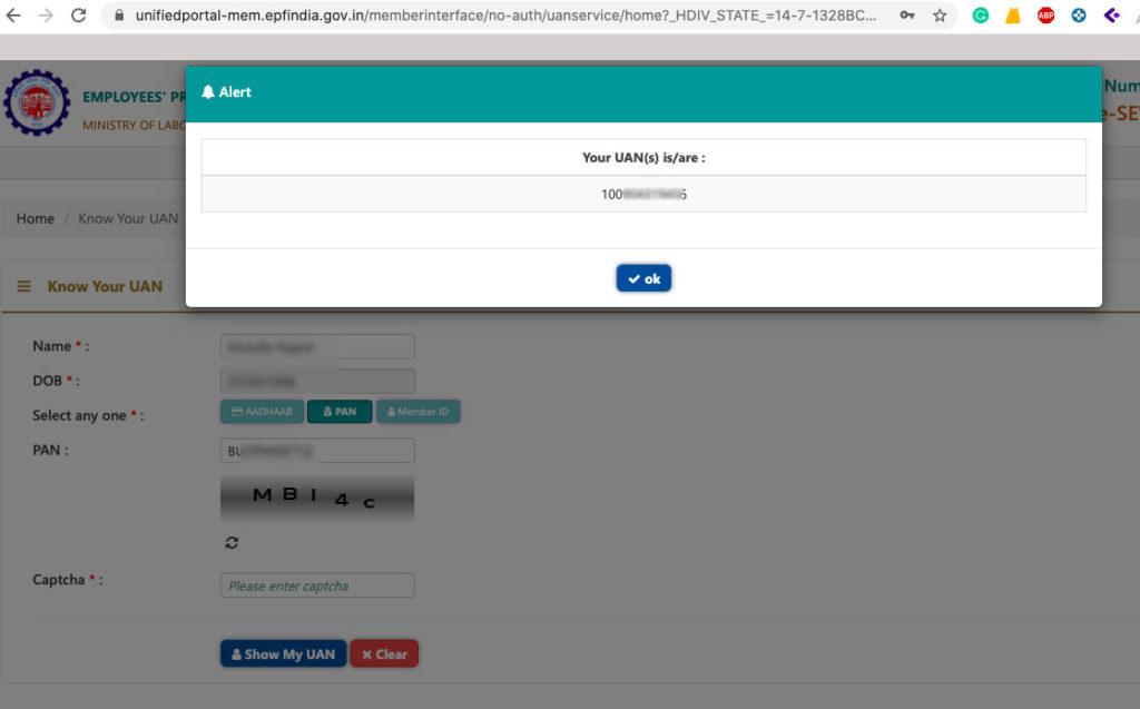 how to get back forgot uan number online